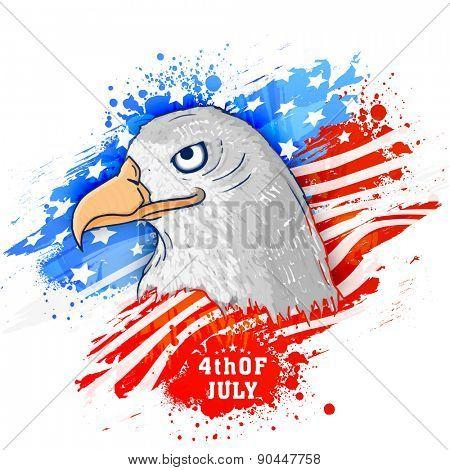 American national bird eagle on flag color splash background for 4th of July, Independence Day celebration.