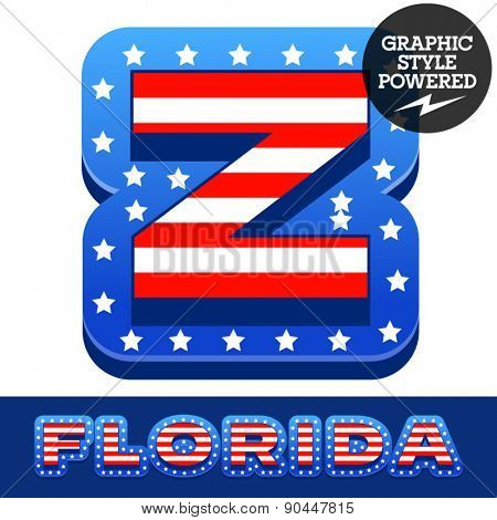 Vector set of american flag stripes and stars alphabet. Letter Z