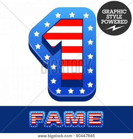 Vector set of american flag stripes and stars alphabet. Number 1