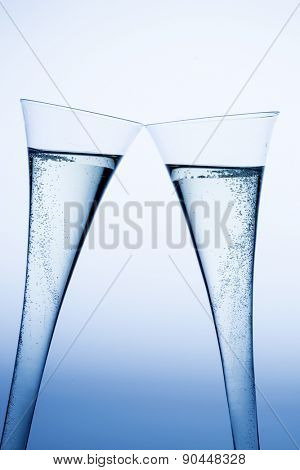 champagne or sparkling wine in a champagne glass. photo icon for celebrations, new year and good humor