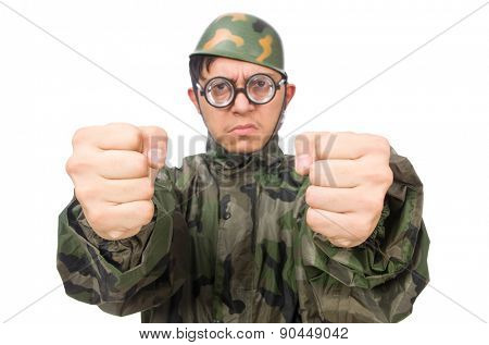 Military man with a gun isolated on white