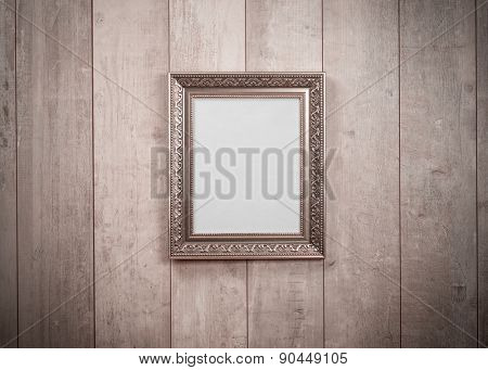 Frame vintage on wood wall