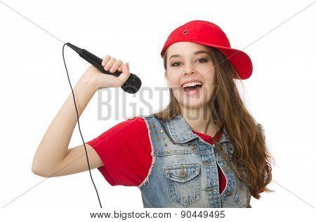 Pretty girl sings karaoke isolated on white