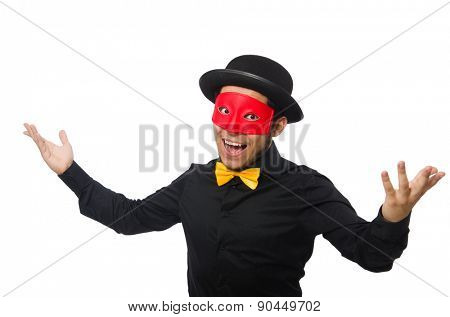 A man wears red mask isolated on white