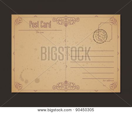 Vintage postcard and postage stamp. Design envelopes and letter