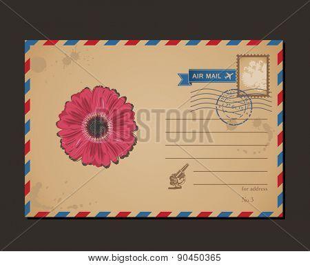 Vintage postcard and postage stamps. Design flower envelope pattern and letters