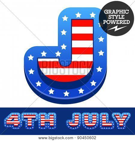 Vector set of american flag stripes and stars alphabet. Letter J
