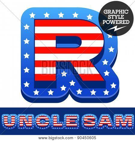 Vector set of american flag stripes and stars alphabet. Letter R