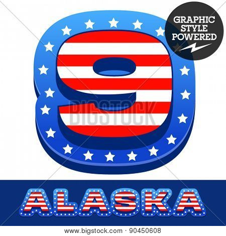 Vector set of american flag stripes and stars alphabet. Number 9