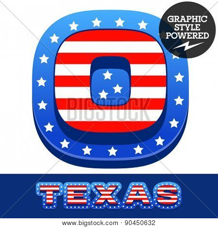 Vector set of american flag stripes and stars alphabet. Number 0