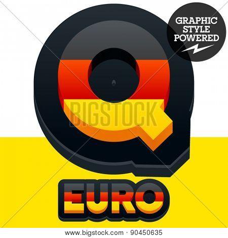 Vector set of Germany flag 3D alphabet. Letter Q