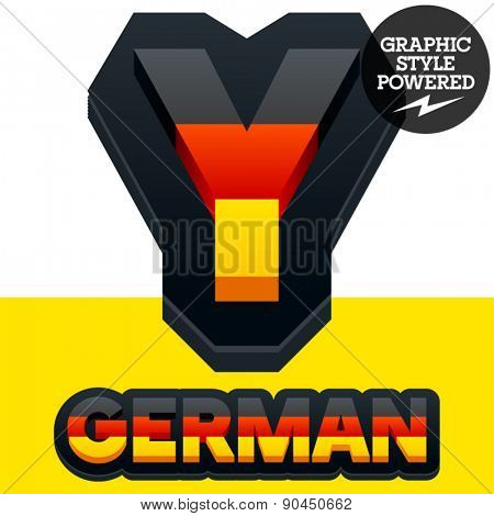 Vector set of Germany flag 3D alphabet. Letter  Y