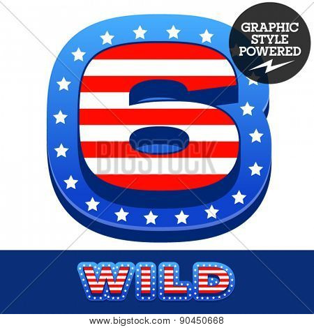 Vector set of american flag stripes and stars alphabet. Number 6