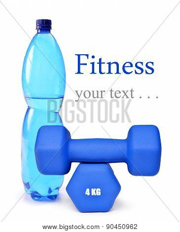 Blue fitness dumbbells and PET bottle with drinking water