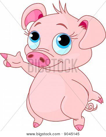 Baby Piglet Pointing