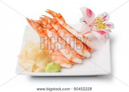 shrimp sashimi with withe plate isolated on white background
