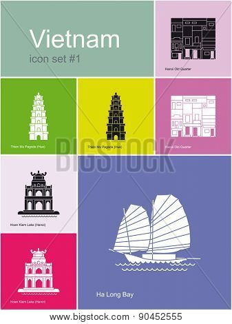 Landmarks of Vietnam. Set of color icons in Metro style. Raster llustration.