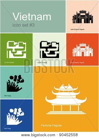 Landmarks of Vietnam. Set of color icons in Metro style. Raster illustration.
