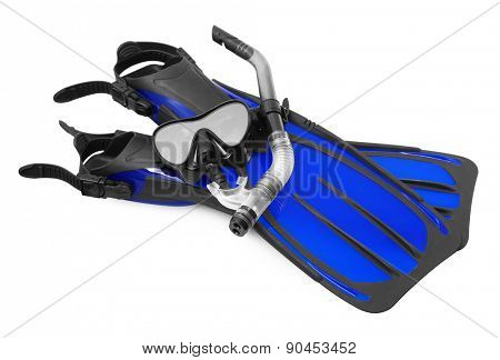 Snorkel, flippers and Mask for Diving, isolated on white background.