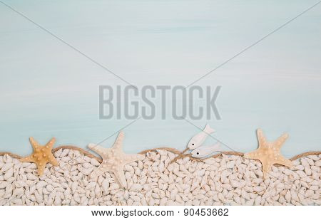 Maritime turquoise blue and white background with shells.