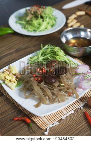 shiitake mushrooms and sweet potato noodles