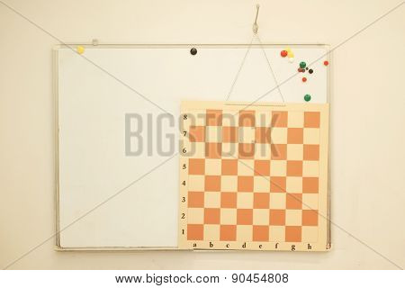 Interior classroom in the children's educational center. Chess board