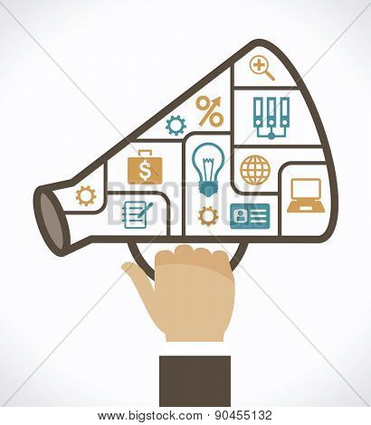 Infographic template with business megaphone compartments banner. Megaphone with compartments and icons on the topic of business. File is saved in AI10 EPS version.