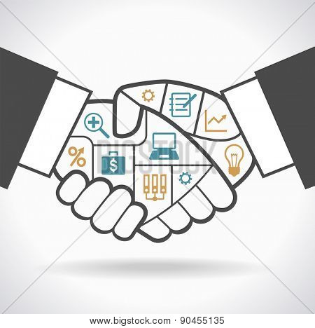 Infographic template with businessman handshake compartments banner. Handshake with compartments and icons on the topic of business. File is saved in AI10 EPS version.
