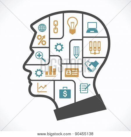 The concept of the information movement in modern business. Silhouette of human head with compartments and icons on the topic of business