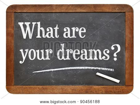 What are your dreams ? Inspirational question on a vintage slate blackboard
