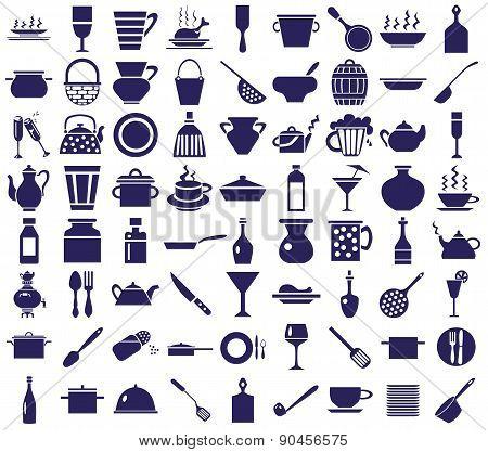 Kitchenware Icons On A White