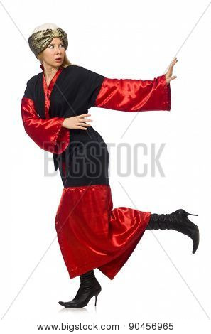 Female magician isolated on white