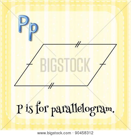 Flashcard letter P is for parallelogram with yellow background