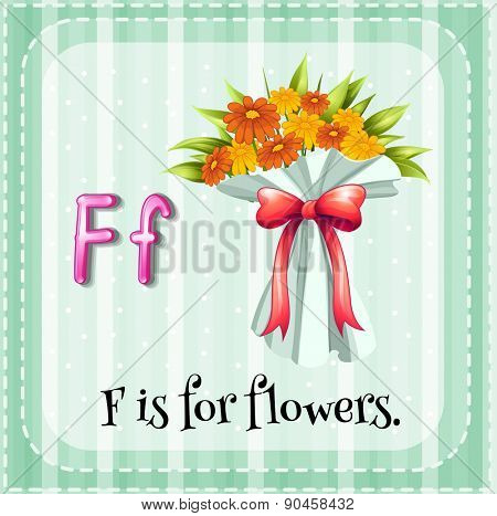 Flashcard letter F is for flowers with green background