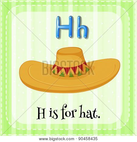 Flashcard letter H is for hat with green background
