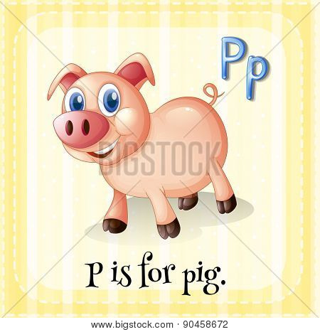 Flashcard letter P is for pig with yellow background