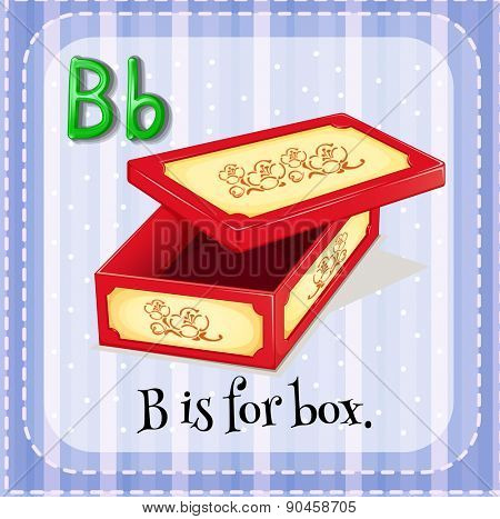 English flashcard letter B is for box