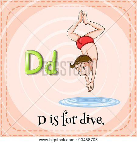 English flashcard letter D is for dive
