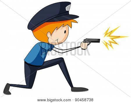 Closeup single policeman firing a gun