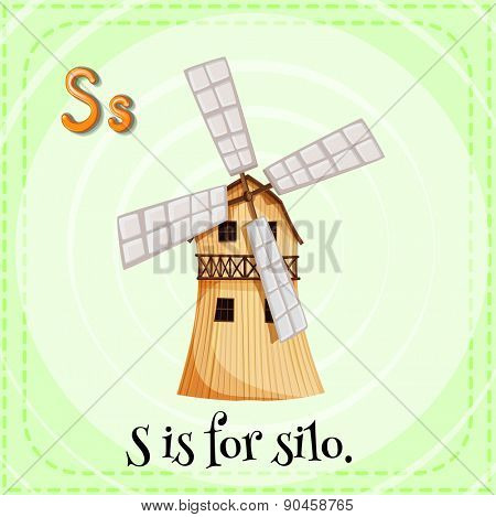 English flashcard letter S is for silo
