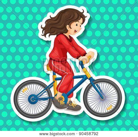 Closeup happy girl riding a bicycle