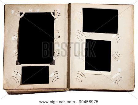 vintage photo album with grunge pages, vector