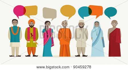 Indian people talk - different indian religious. Vector illustrations
