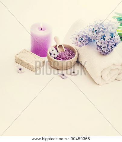 Composition of spa treatment on the white wooden table