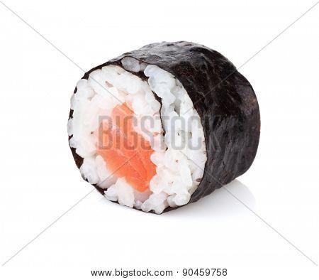Sushi maki with salmon. Isolated on white background