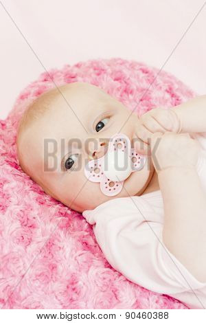 portrait of three months old baby girl