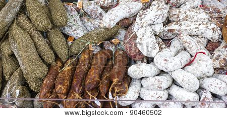 sausages, market in Nyons, Rhone-Alpes, France
