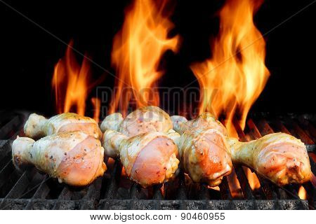 Chicken Legs On  The Hot Bbq Grill