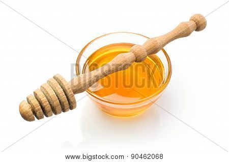 Honey With Wooden Dipper
