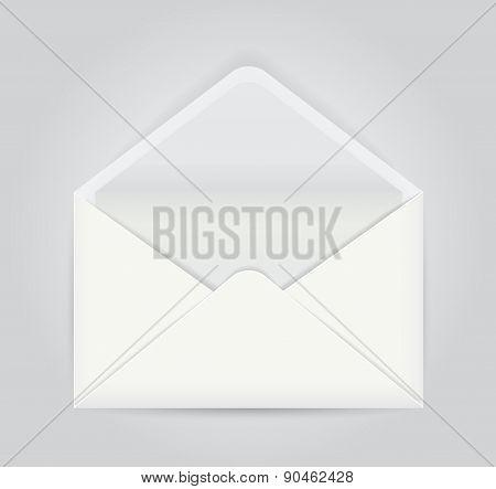 White opened envelope isolated on gray background